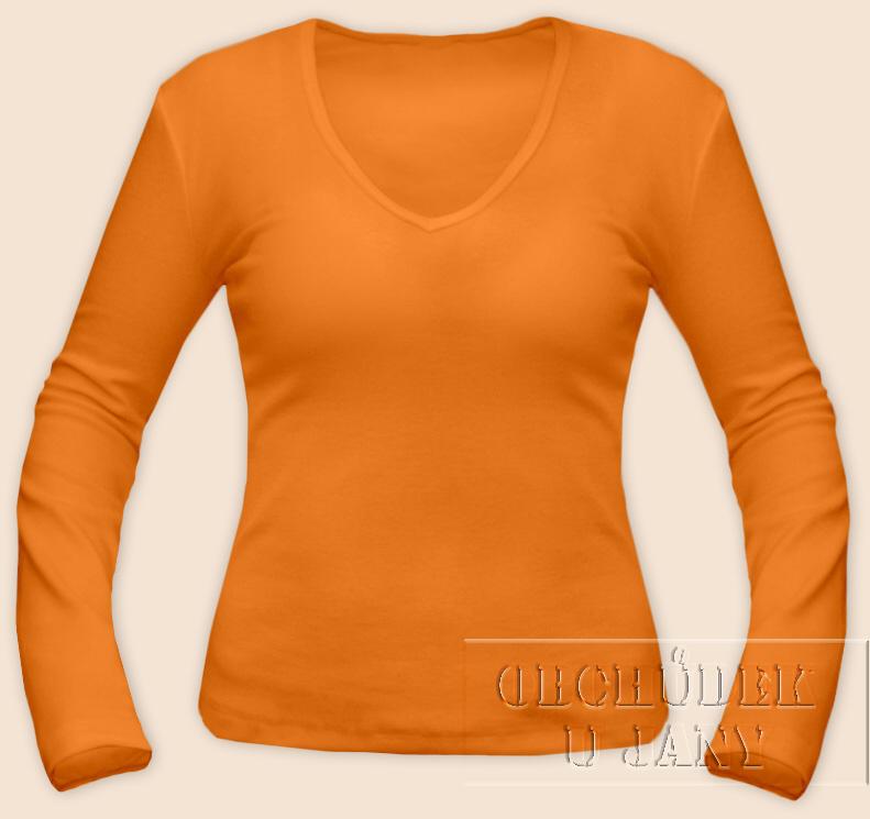 Dámské tričko dlouhý rukáv do V oranžové světlé