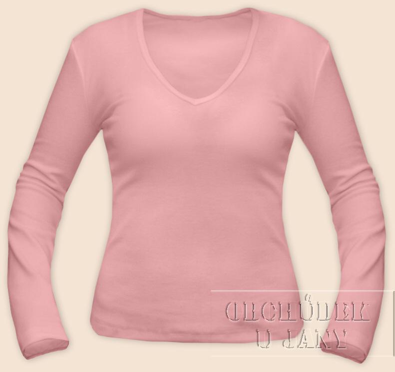 Dámské tričko dlouhý rukáv do V růžové světlé