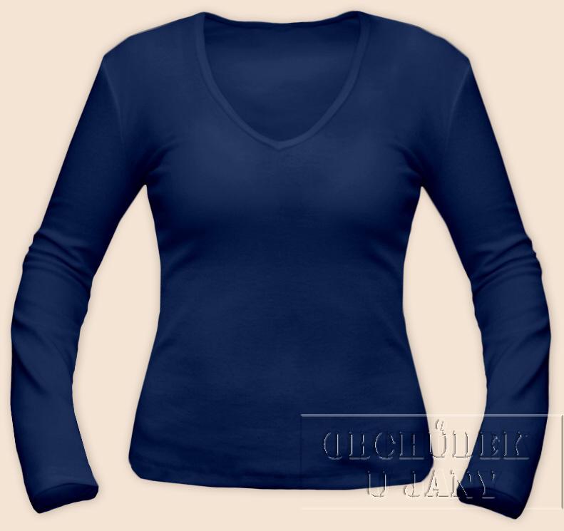Dámské tričko dlouhý rukáv do V modré