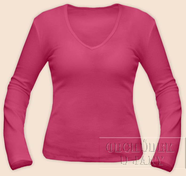 Dámské tričko dlouhý rukáv do V růžové tmavé