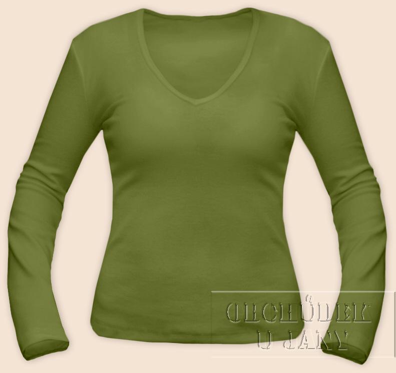 Dámské tričko dlouhý rukáv do V zelené olivové