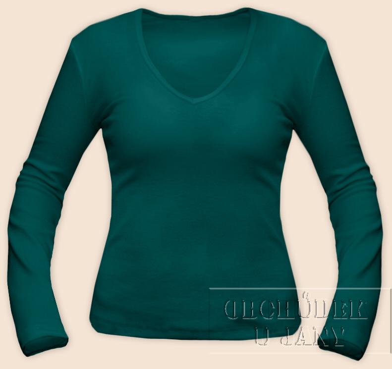 Dámské tričko dlouhý rukávdo V zelenomodré