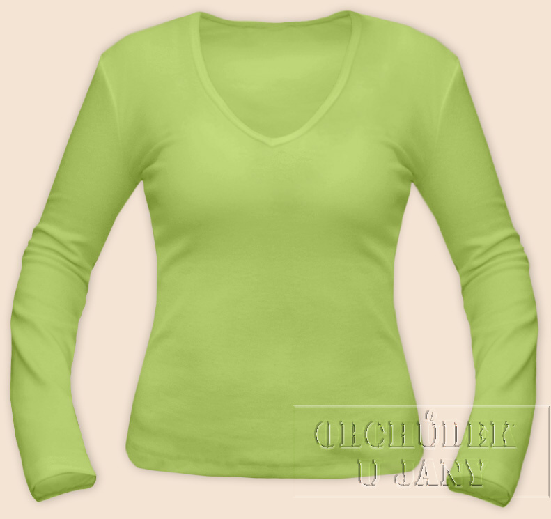 Dámské tričko dlouhý rukáv do V zelenkavé