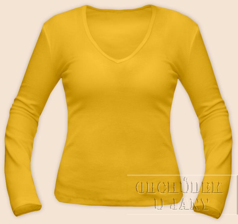 Dámské tričko dlouhý rukáv do V žluté