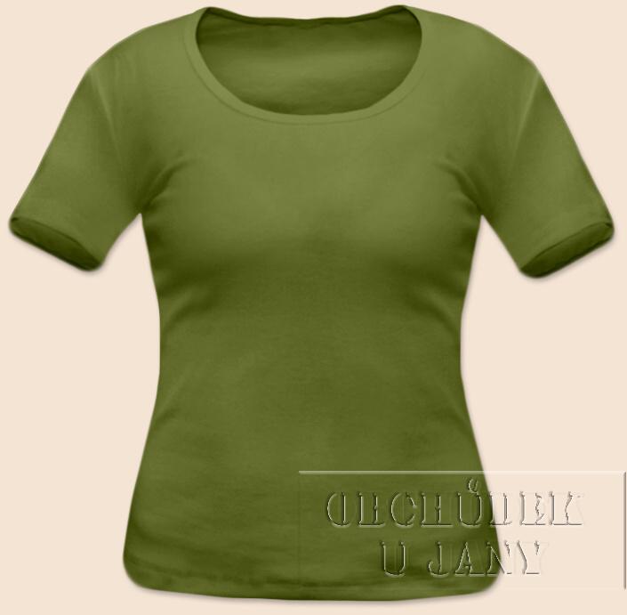 Dámské tričko krátký rukáv zelené olivové