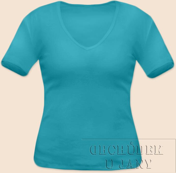 Dámské tričko krátký rukáv do V modré tyrkysové