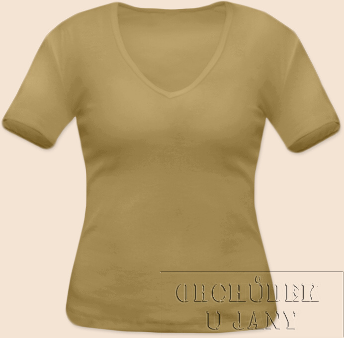 Dámské tričko krátký rukáv do V béžové