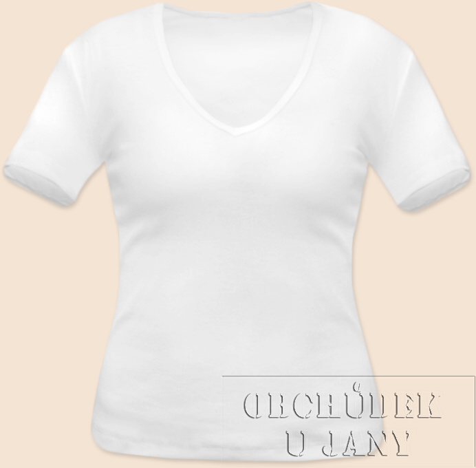 Dámské tričko krátký rukáv do V bílé