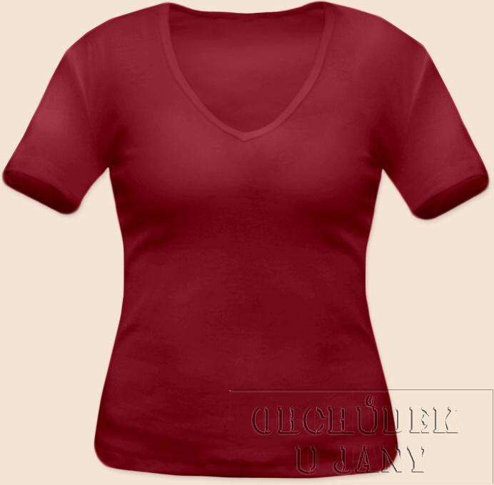Dámské tričko krátký rukáv do V bordó