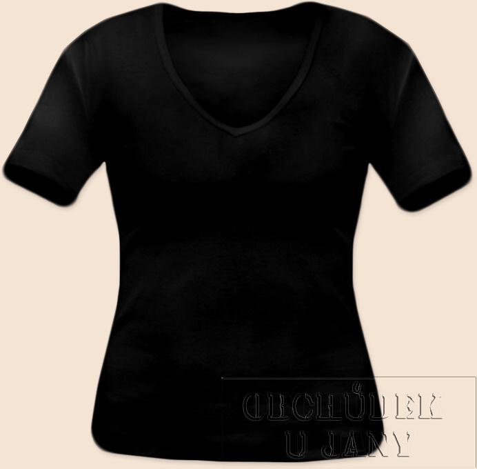 Dámské tričko krátký rukáv do V černé