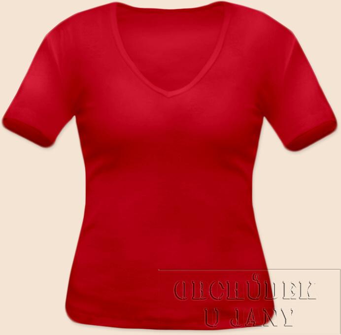 Dámské tričko krátký rukáv do V červené