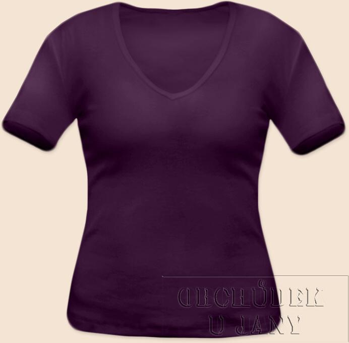 Dámské tričko krátký rukáv do V fialové