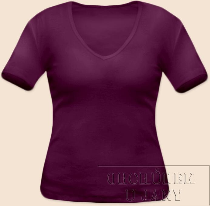 Dámské tričko krátký rukáv do V fialovo-růžové
