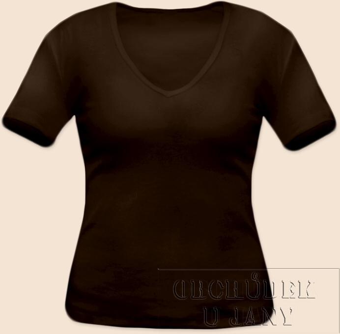 Dámské tričko krátký rukáv do V hnědé