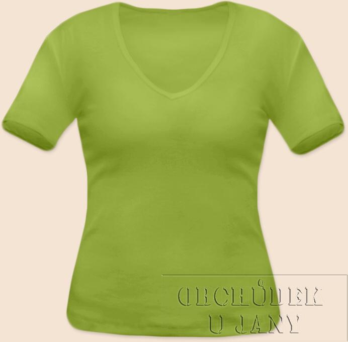Dámské tričko krátký rukáv do V zelené hráškové