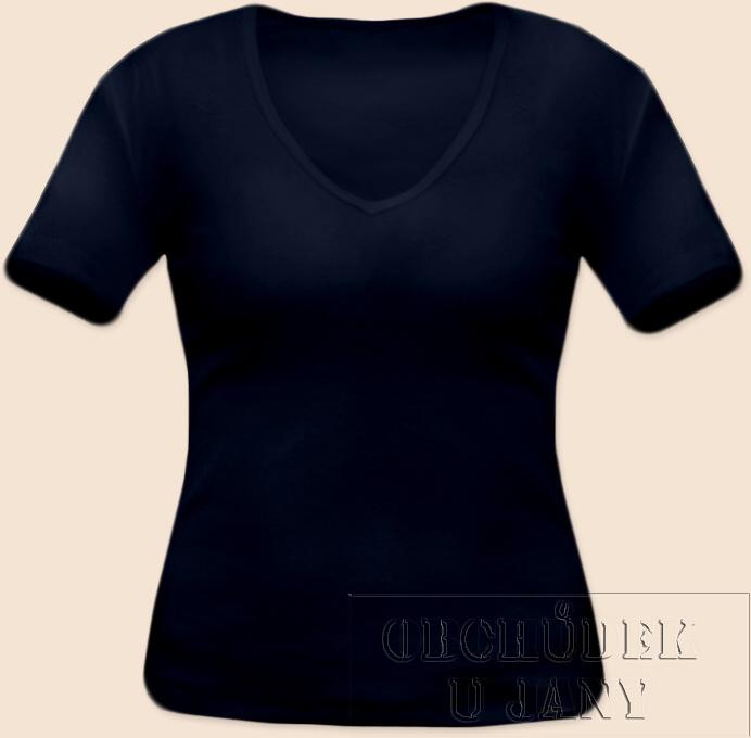 Dámské tričko krátký rukáv do V modré inkoustové