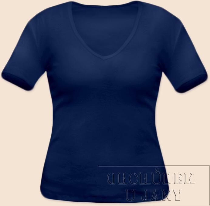 Dámské tričko krátký rukáv do V modré