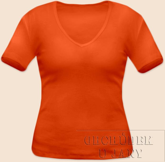 Dámské tričko krátký rukáv do V oranžové tmavé