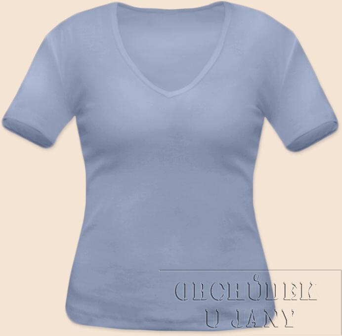 Dámské tričko krátký rukáv do V modré pomněnkové