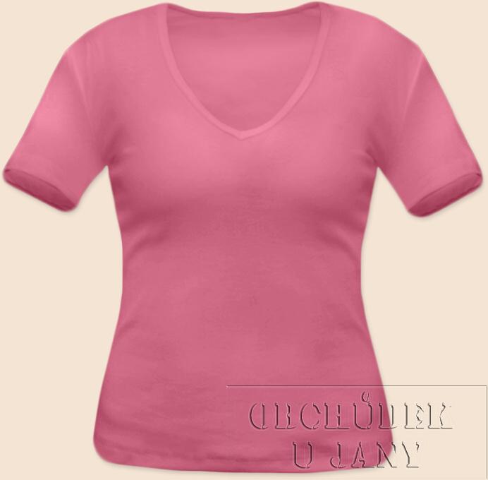 Dámské tričko krátký rukáv do V růžové
