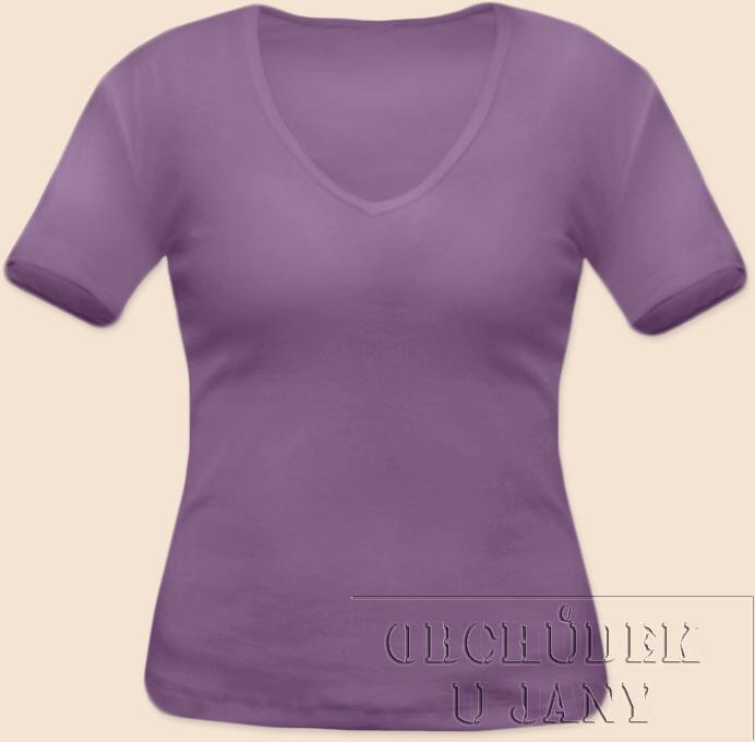 Dámské tričko krátký rukáv do V fialové šeříkové