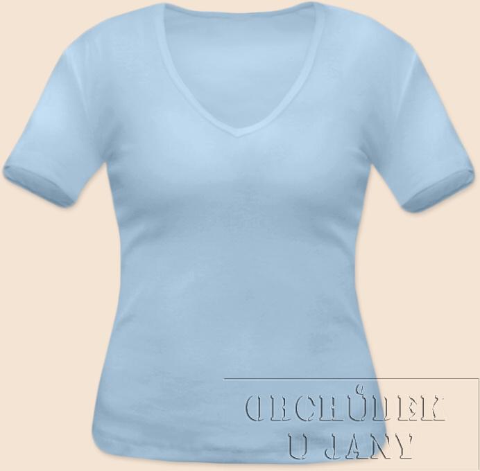 Dámské tričko krátký rukáv do V modré světlé