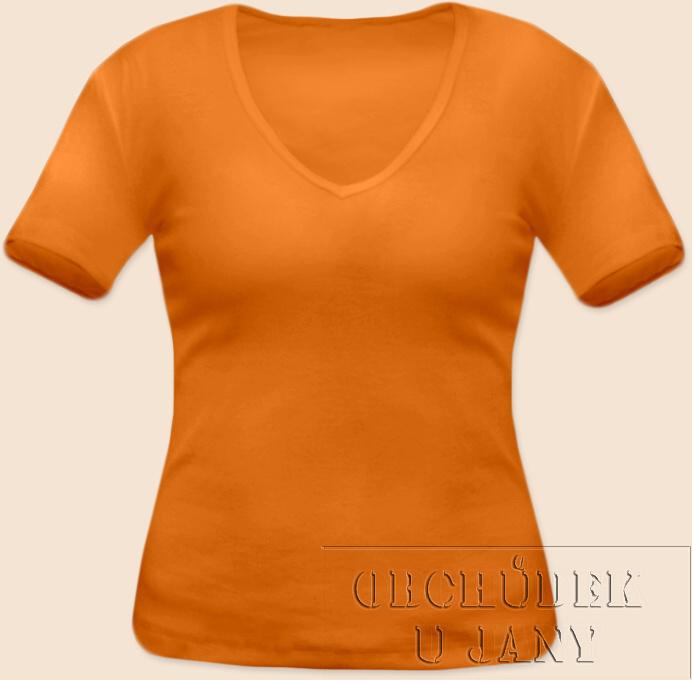 Dámské tričko krátký rukáv do V oranžové světlé