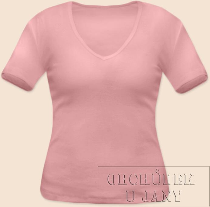 Dámské tričko krátký rukáv do V růžové světlé