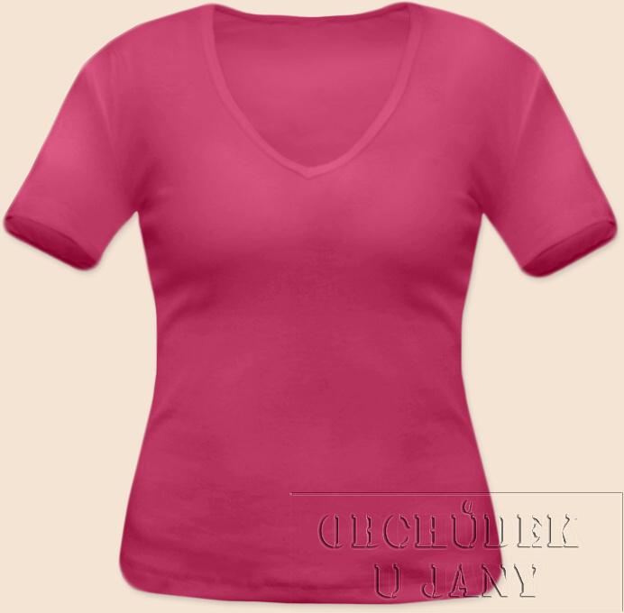 Dámské tričko krátký rukáv do V růžové tmavé