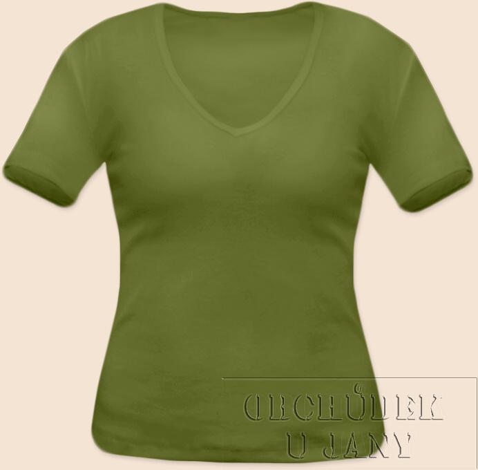 Dámské tričko krátký rukáv do V zelené olivové