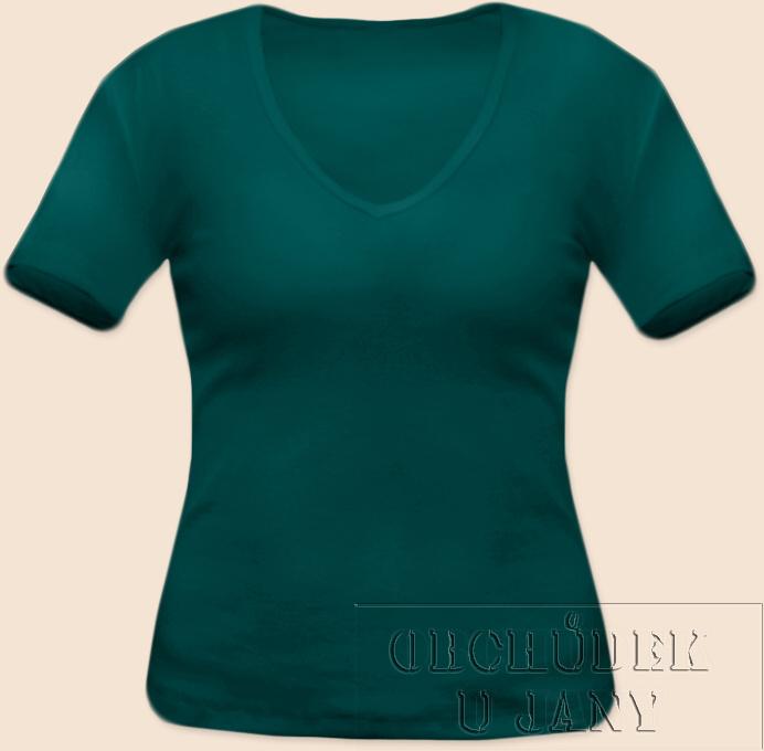 Dámské tričko krátký rukáv do V zelenomodré