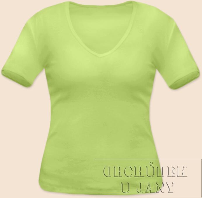 Dámské tričko krátký rukáv do V zelenkavé