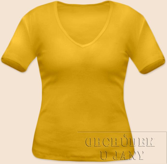 Dámské tričko krátký rukáv do V žluté