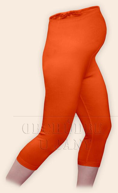 Těhotenské legíny capri oranžové tmavé