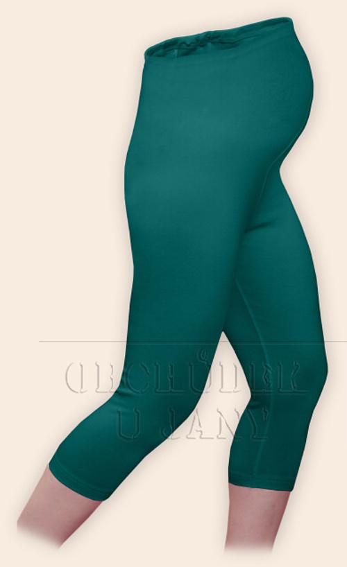 Těhotenské legíny capri zelenomodré