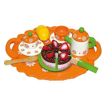 Čajová souprava s dortem na tácku