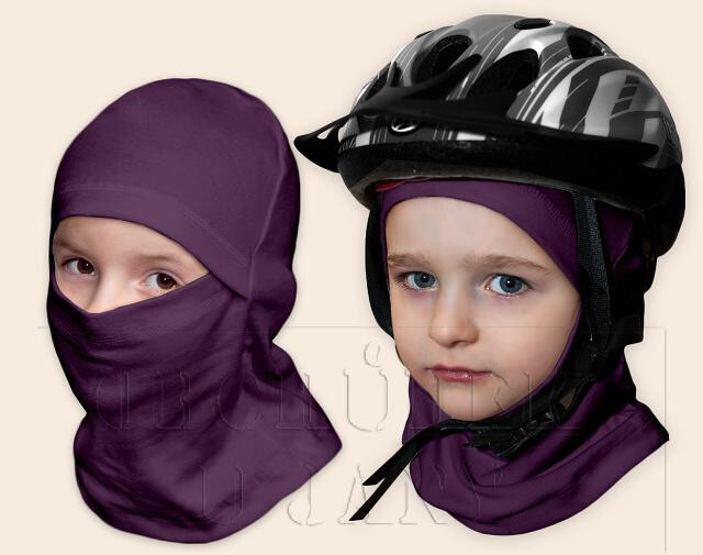 Kukla pod helmu fialová
