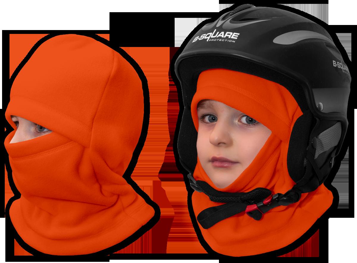 Lyžařská kukla flísová oranžová tmavá