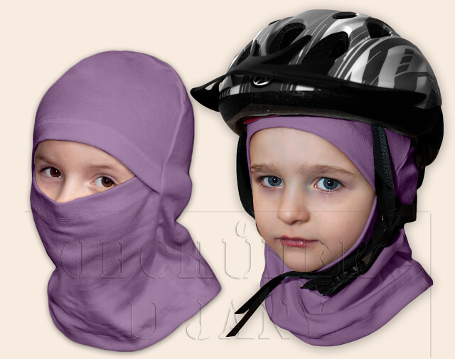 Kukla pod helmu fialová šeříková
