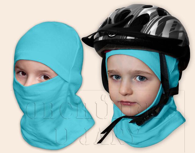 Kukla pod helmu modrá tyrkysová