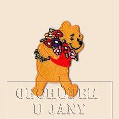 Nažehlovací aplikace Disney - Medvídek Pů s kyticí