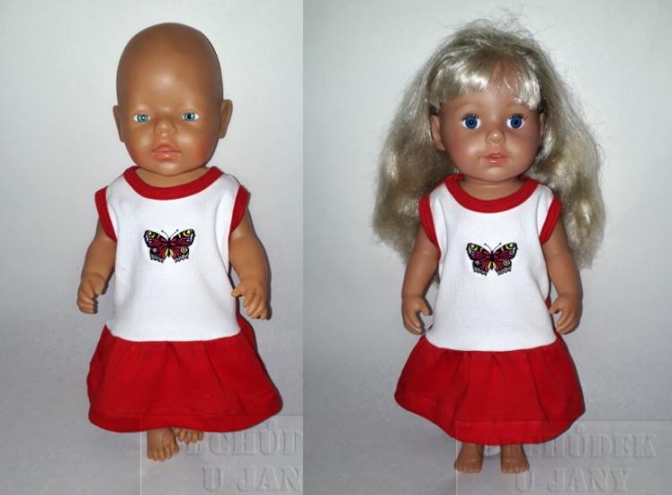 Šaty na panenku Baby born červené