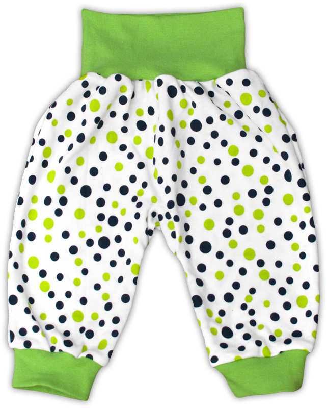 Kojenecké polodupačky manžetové zelený puntík