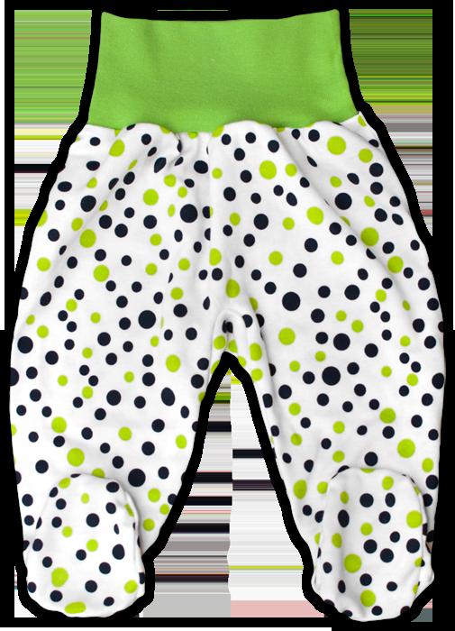 Kojenecké polodupačky zelený puntík
