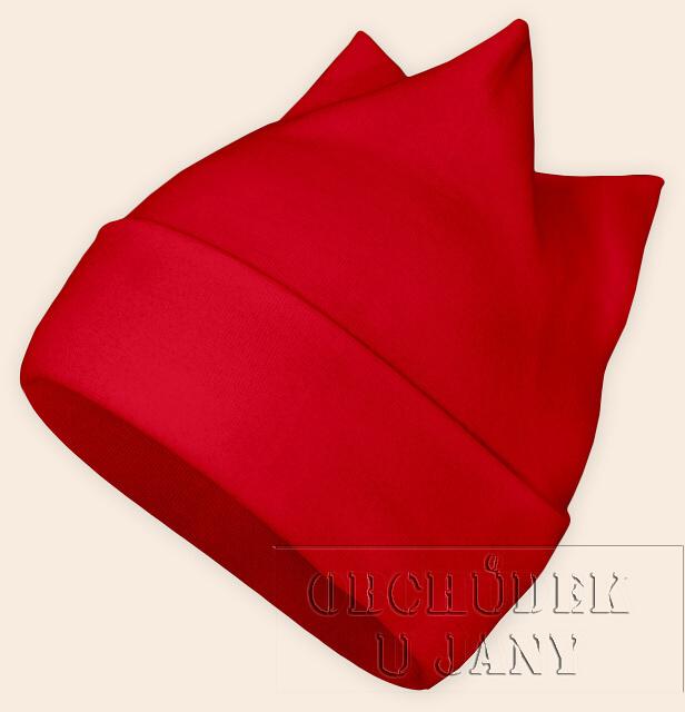 Čepice rohatka červená