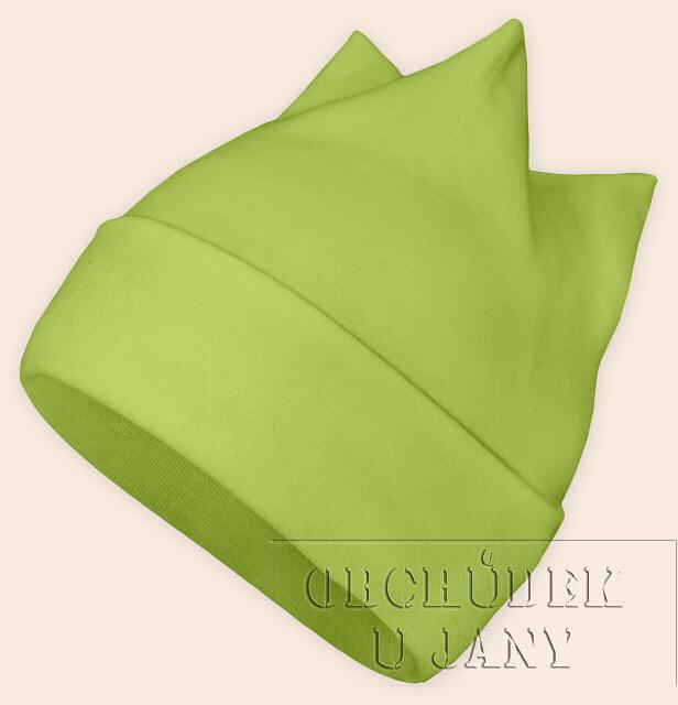 Čepice rohatka zelená hrášková