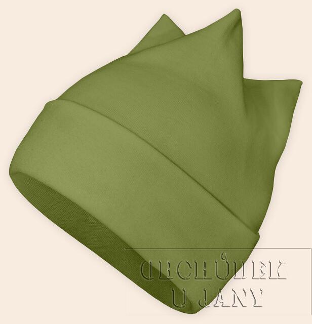 Čepice rohatka zelená olivová
