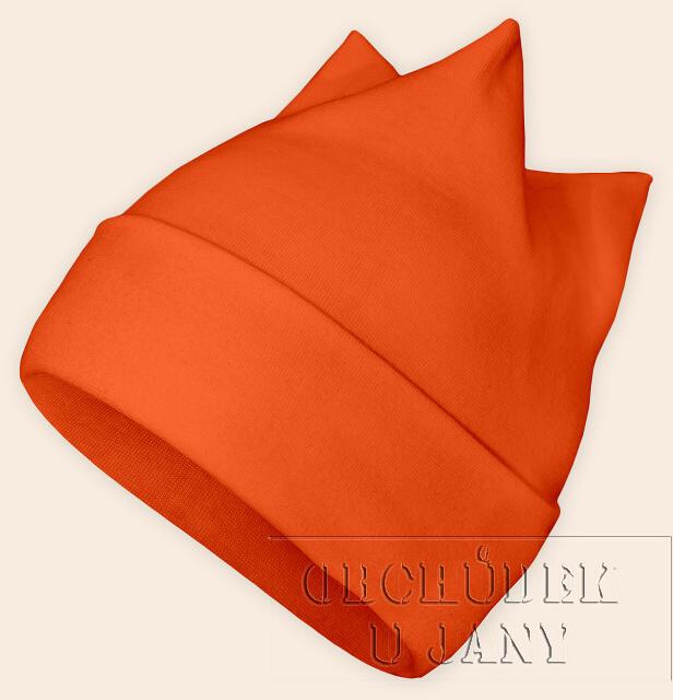 Čepice rohatka oranžová tmavá