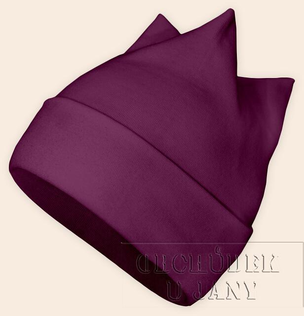 Čepice rohatka fialovo-růžová