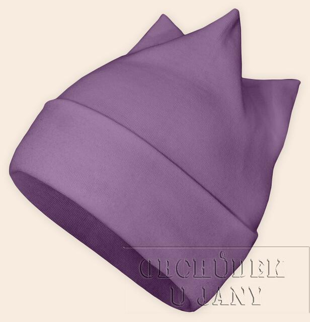 Čepice rohatka fialová šeříková